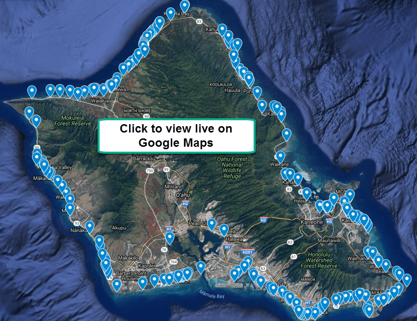 All Oahu Beach Access Points on Google Maps